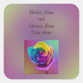 Rainbow Rose Flower Wedding Square Stickers