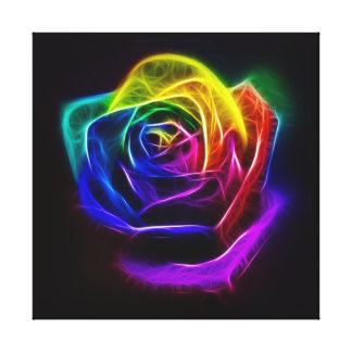 Rainbow Rose Fractal Gallery Wrapped Canvas
