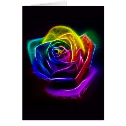 Rainbow Rose Fractal Cards
