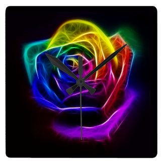 Rainbow Rose Fractal Clocks