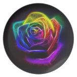 Rainbow Rose Fractal Dinner Plate