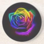 Rainbow Rose Fractal Drink Coasters