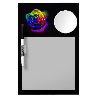 Rainbow Rose Fractal Dry Erase Board With Mirror