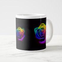 Rainbow Rose Fractal Large Coffee Mug
