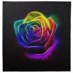 Rainbow Rose Fractal Printed Napkin