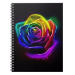 Rainbow Rose Fractal Spiral Notebook