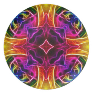 Rainbow Rose Kaleidoscope Plate