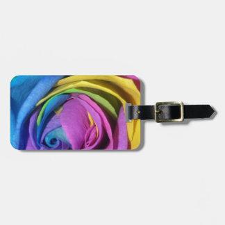 Rainbow Rose Luggage Tag