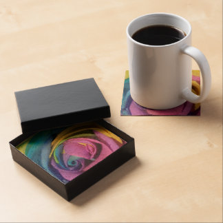 Rainbow Rose Coaster