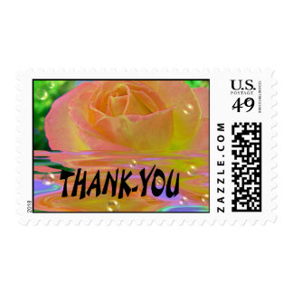 Rainbow Rose/Thank-you Postage Stamp