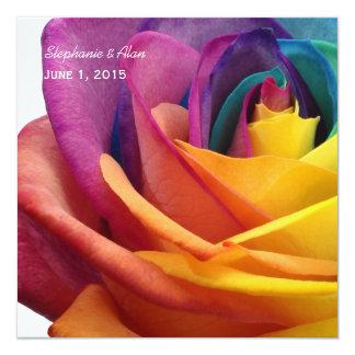 "Rainbow Rose Wedding Invitation 5.25"" Square Invitation Card"