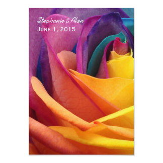 "Rainbow Rose Wedding Invitation 5"" X 7"" Invitation Card"