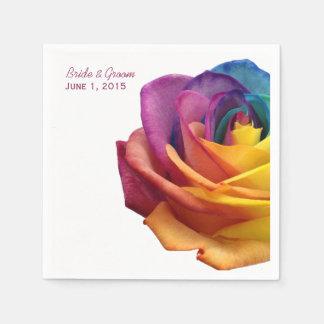 Rainbow Rose Wedding Paper Napkins