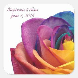 Rainbow Rose Wedding Sticker