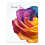 "Rainbow Rose White Thank You Card 4.25"" X 5.5"" Invitation Card"