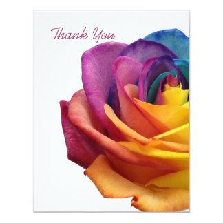 "Rainbow Rose White Thank You Card 4.25"" X 5.5"" Invitation Card"
