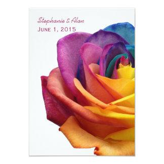 "Rainbow Rose White Wedding Invitation 5"" X 7"" Invitation Card"