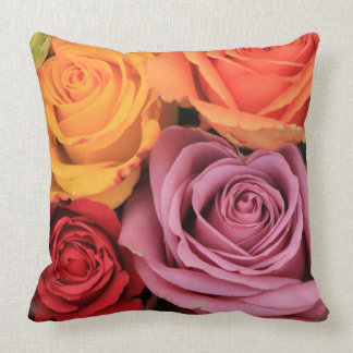 Rainbow roses by Therosegarden Throw Pillow