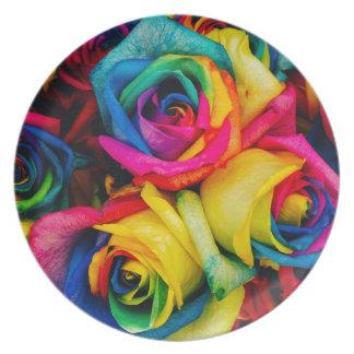 Rainbow Roses Dinner Plate