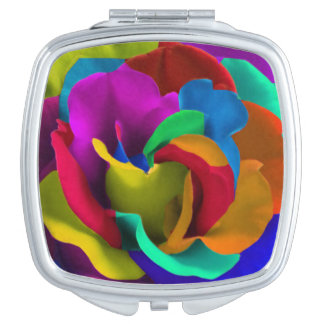 Rainbow roses flowers colorful hippie edition mirror for makeup