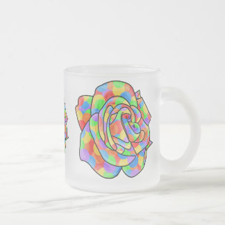 Rainbow Roses Frosted Glass Coffee Mug