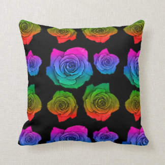 Rainbow roses neon pattern square pillow