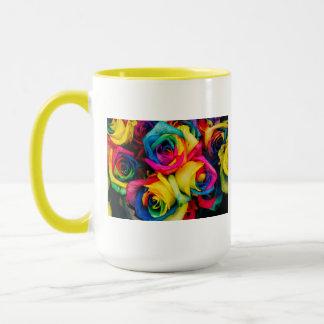 Rainbow Roses Rose blossoms romantic peace joy Mug