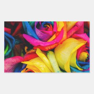 Rainbow Roses Rose blossoms romantic peace joy Rectangular Sticker