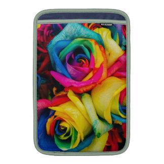 Rainbow Roses Rose blossoms romantic peace joy Sleeve For MacBook Air