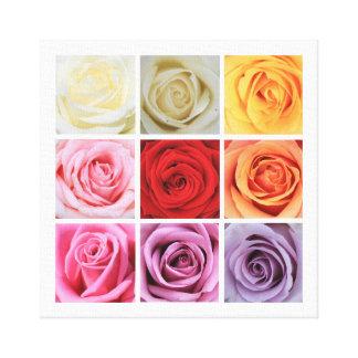 Rainbow roses square collage canvas print