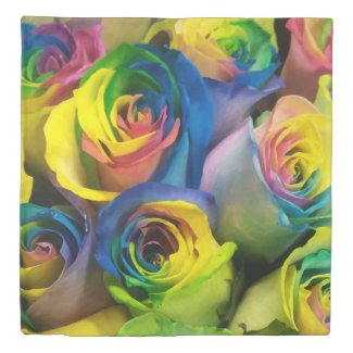 Rainbow Roses Up Close Picture Duvet Covers