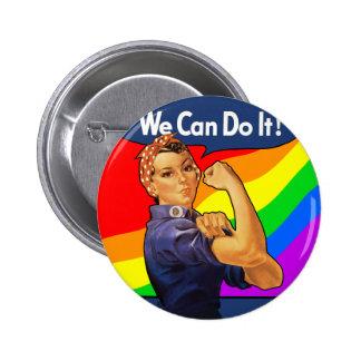 Rainbow Rosie Pinback Button