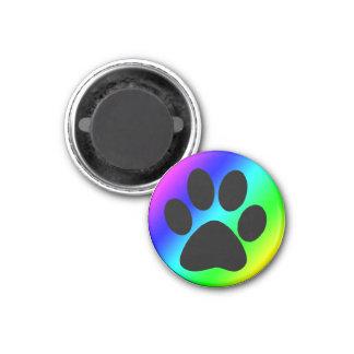 Rainbow Round Dog Paw.png 1 Inch Round Magnet