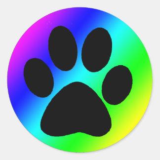 Rainbow Round Dog Paw.png Classic Round Sticker