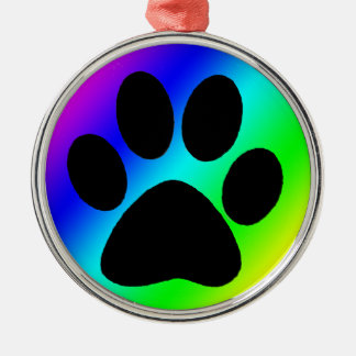 Rainbow Round Dog Paw.png Metal Ornament