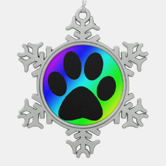 Rainbow Round Dog Paw.png Snowflake Pewter Christmas Ornament