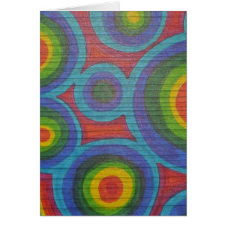 Rainbow Rounds - Abstract Circles Pattern Design Greeting Card