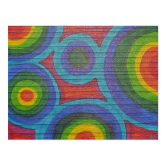 Rainbow Rounds - Abstract Circles Pattern Design Postcard