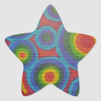 Rainbow Rounds - Abstract Circles Pattern Design Star Stickers