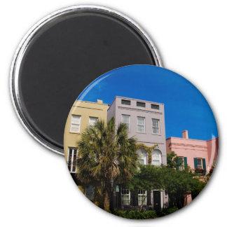 Rainbow Row Charleston, SC 2 Inch Round Magnet