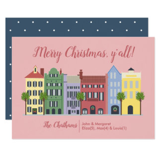 Rainbow Row Charleston SC Christmas Card