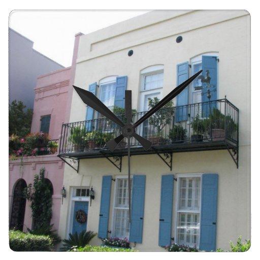 Rainbow row houses charleston sc clock zazzle for Charleston row houses