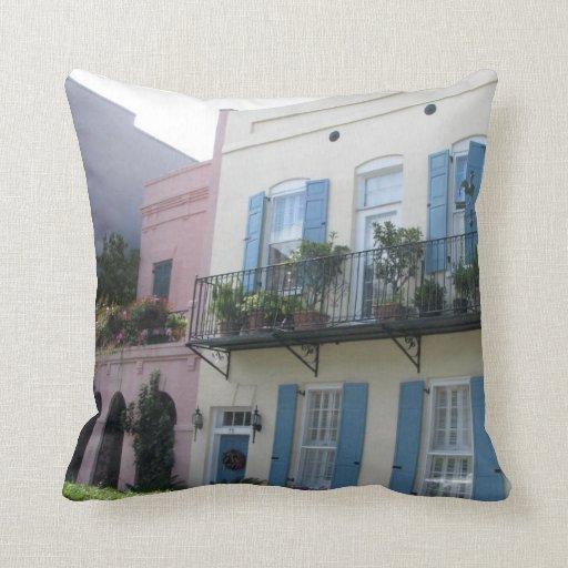 Rainbow row houses charleston sc pillow zazzle for Charleston row houses