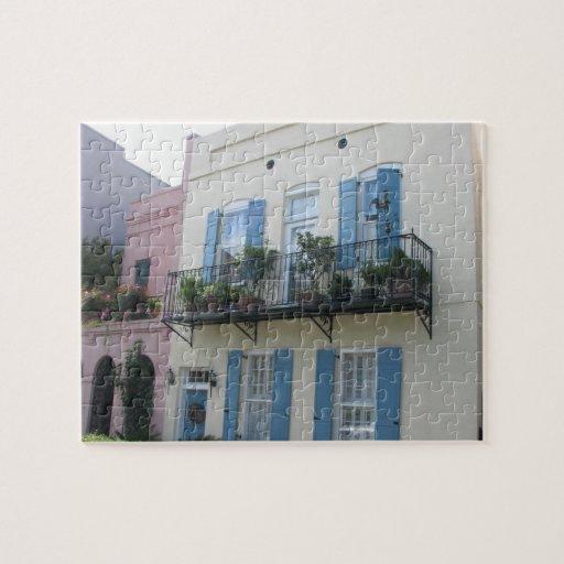 Rainbow row houses charleston sc puzzle zazzle for Charleston row houses