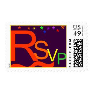 Rainbow RSVP Postage Stamp