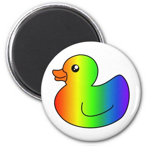 Rainbow Rubber Duck 2 Inch Round Magnet