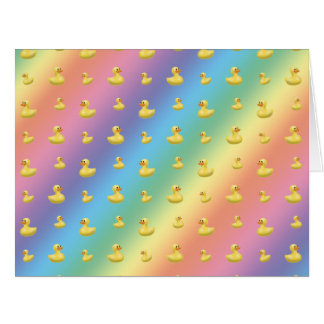 Rainbow rubber duck pattern large greeting card