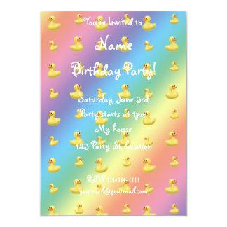 Rainbow rubber duck pattern 5x7 paper invitation card
