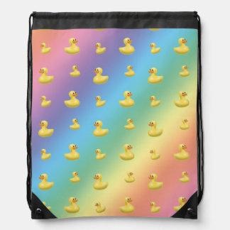 Rainbow rubber duck pattern drawstring bag