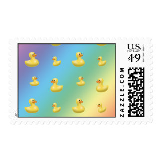 Rainbow rubber duck pattern postage stamp